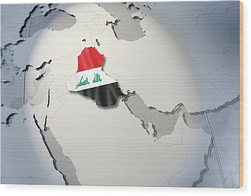 Shape And Ensign Of Iraq On A Globe Wood Print by Dieter Spannknebel