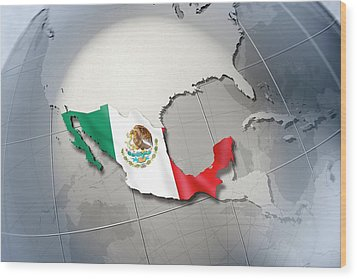 Shape And Ensign Of Mexico On A Globe Wood Print by Dieter Spannknebel