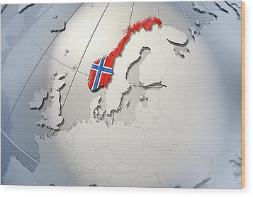 Shape And Ensign Of Norway On A Globe Wood Print by Dieter Spannknebel