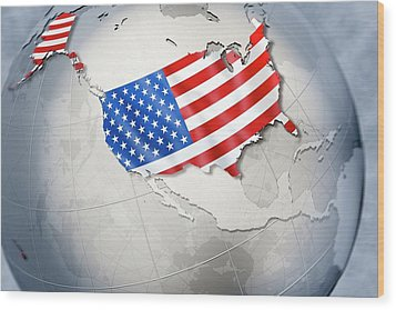 Shape And Ensign Of The Usa On A Globe Wood Print by Dieter Spannknebel