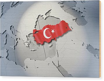 Shape And Ensign Of Turkey On A Globe Wood Print by Dieter Spannknebel