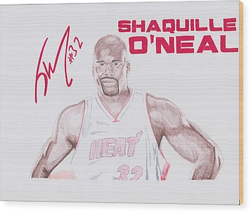 Shaquille O'neal Wood Print by Toni Jaso