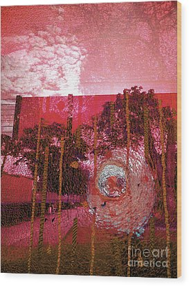 Wood Print featuring the photograph Abstract Shattered Glass Red by Andy Prendy