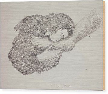 She Wiped His Feet With Her Hair Wood Print by Bruce Zboray