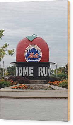 Shea Stadium Home Run Apple Wood Print by Rob Hans