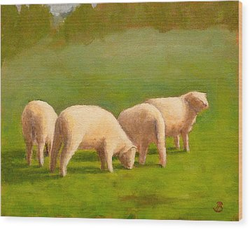 Wood Print featuring the painting Sheep Shapes by Joe Bergholm