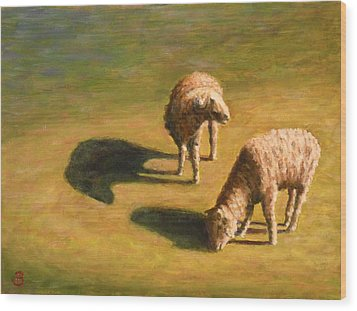 Wood Print featuring the painting Sheep Shapes Two  by Joe Bergholm