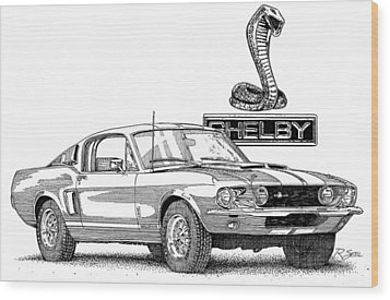 Wood Print featuring the painting Shelby Gt350 by Rod Seel