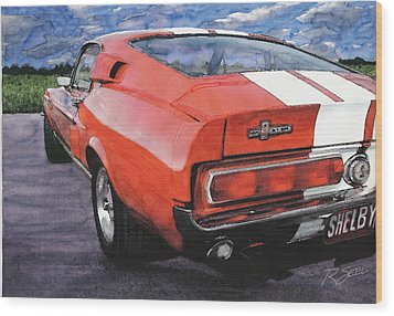 Shelby Gt500 Wood Print by Rod Seel