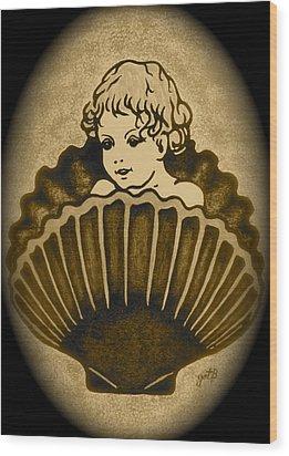 Shell With Child 2 Wood Print by Georgeta  Blanaru
