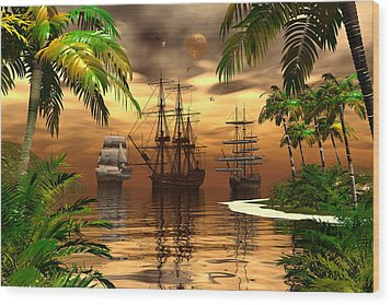 Wood Print featuring the digital art Shelter Harbor by Claude McCoy