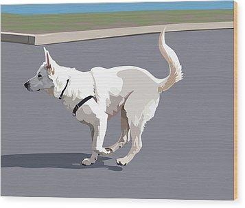 Shepherd Sprint Wood Print by Kris Hackleman