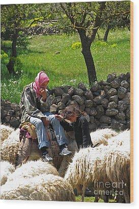shepherds in Golan Wood Print by Issam Hajjar