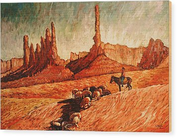 Wood Print featuring the painting Sheppard by Charles Munn