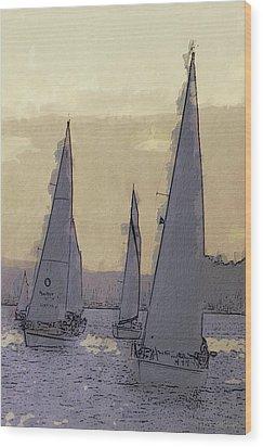 Shilshoe Marina Races 2 Wood Print by Arthur Kuntz