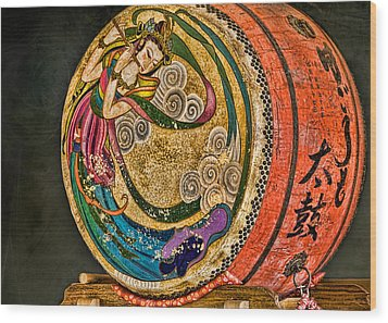 Shinto Drum Wood Print by Karen Walzer