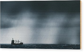 Ship At Sea Caught In Stormy Weather Wood Print by Geoff Tompkinson