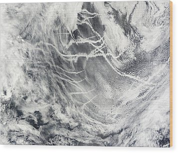 Ship Tracks In The Pacific Ocean Wood Print by Stocktrek Images