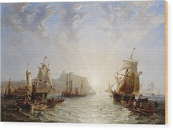 Shipping Off Scarborough Wood Print by John Wilson Carmichael