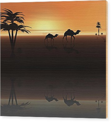 Ships Of The Desert Wood Print by David Dehner