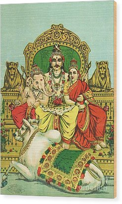 Shiva - Parvati Wood Print by Pg Reproductions