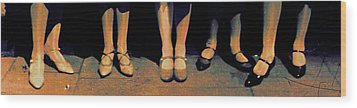 Shoe Parade Wood Print by Li   van Saathoff