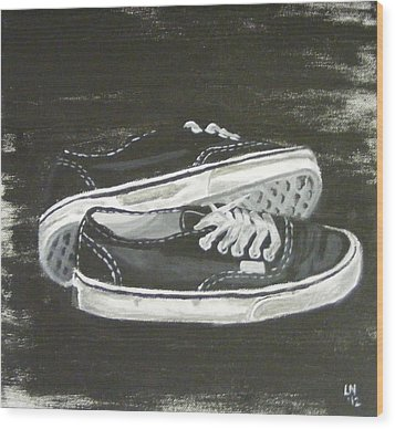 Shoes Wood Print by Laura Evans