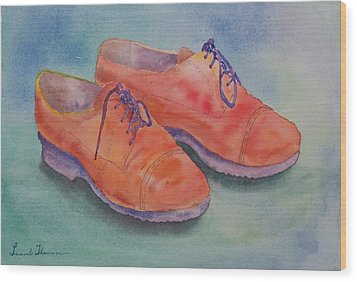 Shoes Of A Different Colour Wood Print by Laurel Thomson