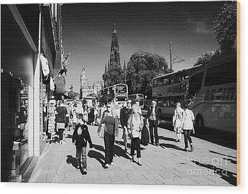 Shoppers And Tourists On Princes Street Edinburgh Scotland Uk United Kingdom Wood Print by Joe Fox