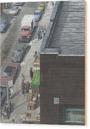 Wood Print featuring the painting shopping bklyn ny 1970S by Stuart B Yaeger