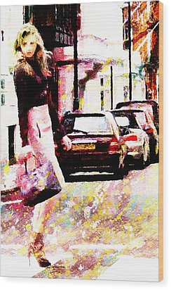 Wood Print featuring the digital art Shopping Girl by Andrea Barbieri
