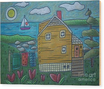 Shore Cottage Wood Print by Karla Gerard