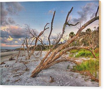 Shoreline Beach Driftwood And Grass Wood Print by Jenny Ellen Photography