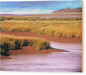 Shoreline Painting Wolfville Harbour Wood Print