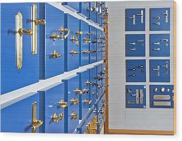 Showroom With Various Brass Wood Print by Corepics