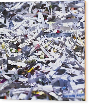 Shredded Documents Wood Print by Kevin Curtis