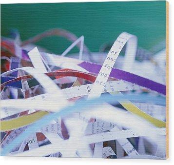 Shredded Paper Wood Print by Martin Bond