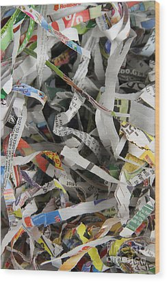 Shredded Paper Wood Print by Photo Researchers, Inc.