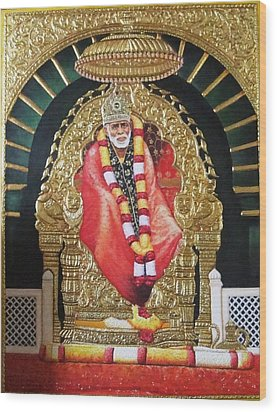 Shree Shirdi Sai Baba Wood Print by Ashok  Sharma