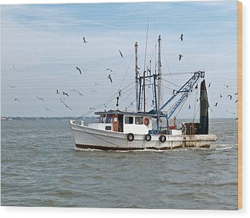 Shrimp Boat And Gulls Wood Print
