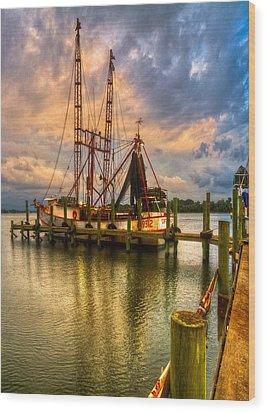 Shrimp Boat At Sunset Wood Print by Debra and Dave Vanderlaan