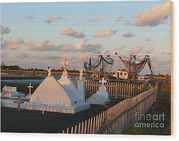 Wood Print featuring the photograph Shrimp Boats And Cemetery by Jeanne  Woods