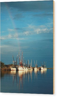 Shrimp Boats In Darien Wood Print
