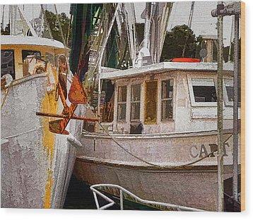Shrimp Boats Wood Print by Larry Bishop