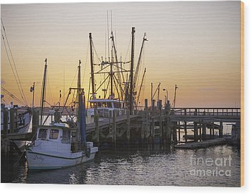Shrimp Boats Port Royal Wood Print by David Waldrop