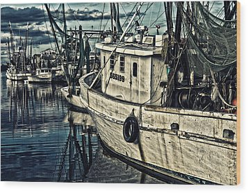 Shrimpers Wood Print by Denis Lemay