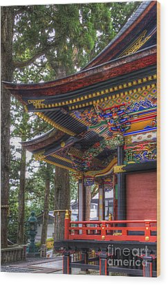 Wood Print featuring the photograph Shrine-4 by Tad Kanazaki