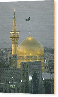 Shrine Of Imam Reza,  Eighth Shiite Wood Print by Martin Gray