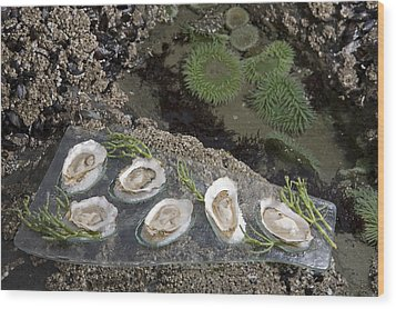Shucked Oysters Sit On A Platter Next Wood Print by Taylor S. Kennedy