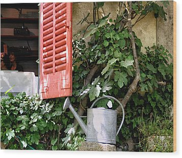 Shutters And Watering Can Wood Print by Sandra Anderson